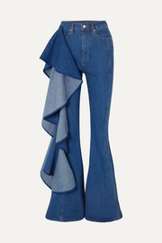 Trumpet ruffled high-rise wide-leg jeans