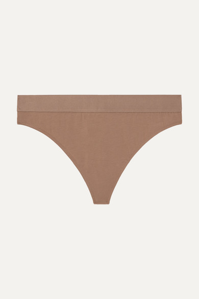 Harley Stretch Organic Pima Cotton-Jersey Thong in Light Brown