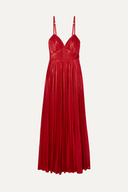 Marchesa Notte Crocheted lace-trimmed pleated lamé gown
