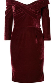 Off-the-shoulder draped stretch-velvet dress