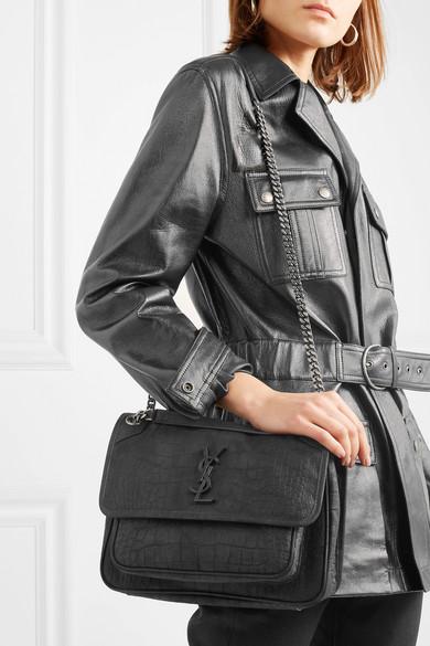 b514451f153 SAINT LAURENT | Niki medium croc-effect leather shoulder bag | NET-A ...