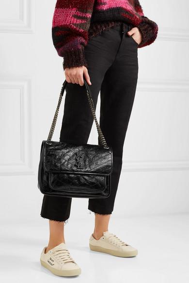 Saint Laurent. Niki medium quilted crinkled patent-leather shoulder bag b8fefef52312d