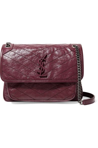 Saint Laurent Niki Medium Quilted Crinkled Glossed-Leather Shoulder Bag In  Burgundy 08b9b33aaf10f