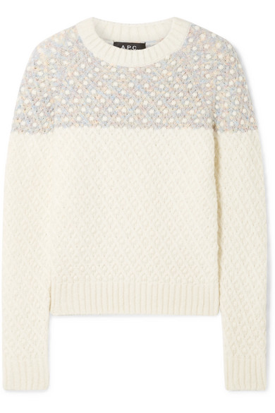 Metallic-Trimmed Cable-Knit Sweater in Cream