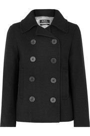Caban Swinging cropped double-breasted wool-blend coat