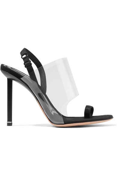 Kaia Grosgrain-Trimmed Suede And Pvc Slingback Sandals in Black