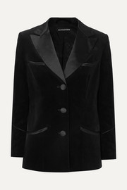 Satin-trimmed cotton-velvet blazer