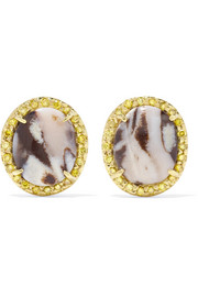 Kimberly McDonald 18-karat gold, opal and sapphire earrings