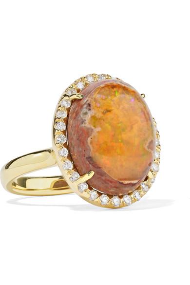 KIMBERLY MCDONALD 18-KARAT GOLD, OPAL AND DIAMOND RING