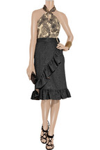 Yves Saint Laurent Ruffled glossed-cloque wrap skirt
