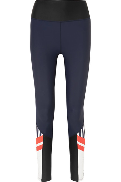P.E NATION Contrast-Panel Mid-Rise Stretch-Jersey Leggings in Navy