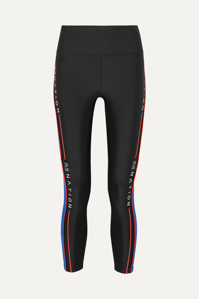 P.E NATION Three Point High-Rise Side-Stripe 7/8 Leggings in Black