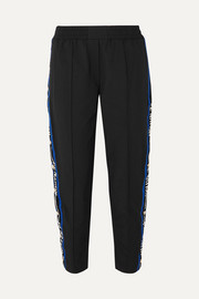 Torque cropped striped cotton-blend track pants
