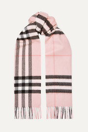 Burberry Fringed checked cashmere-twill scarf