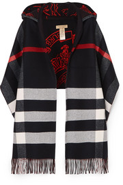 Burberry Hooded checked intarsia wool and cashmere-blend scarf