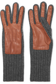 Ribbed cashmere and leather gloves