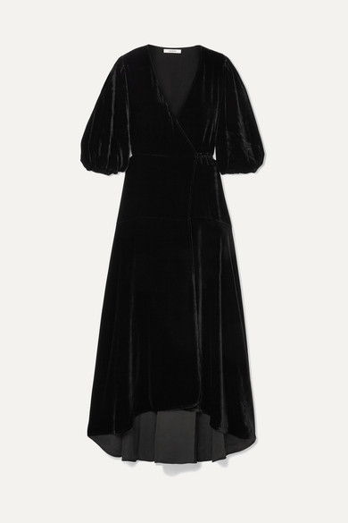 Silk-Blend Velvet Wrap Dress in Black