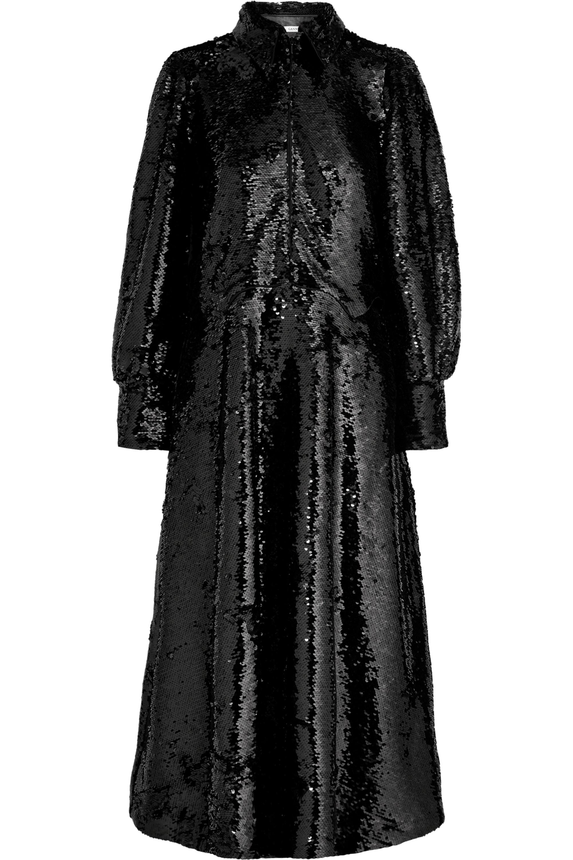 GANNI Sequined crepe midi dress