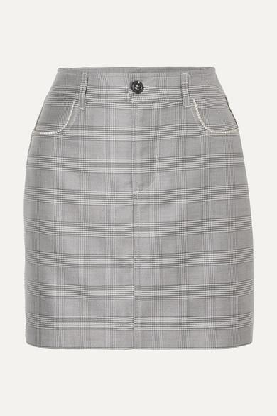 Merkel Crystal-Embellished Checked Silk And Wool-Blend Mini Skirt in Light Gray