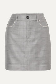 Merkel crystal-embellished checked silk and wool-blend mini skirt