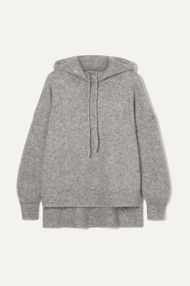 Callahan Ribbed Wool-Blend Hoodie in Light Gray