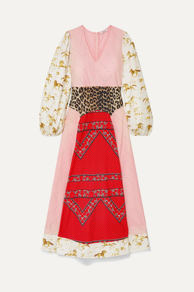 Sweeny Paneled Printed Cotton-Poplin Maxi Dress in Pink