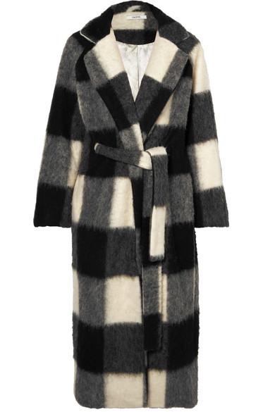 Mckinney Checked Brushed-Felt Coat in Gray
