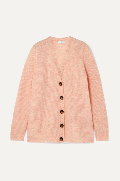 Callahan Oversized Ribbed-Knit Cardigan in Peach