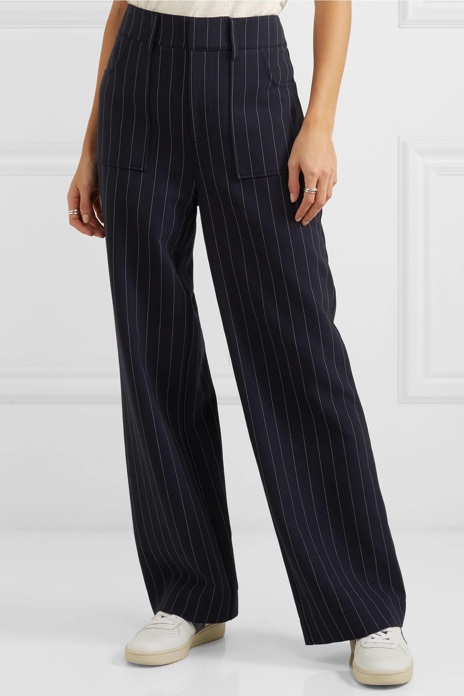 GANNI Pinstriped cady straight-leg pants