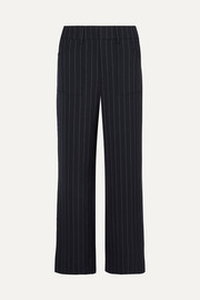 Pinstriped cady straight-leg pants