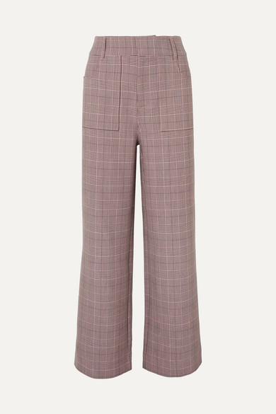 Hewitt Checked Cady Straight-Leg Pants in Blush
