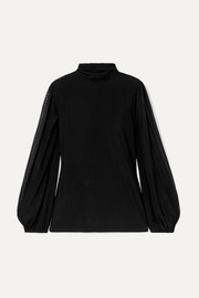 GANNI Addison Swiss-dot stretch-tulle turtleneck top