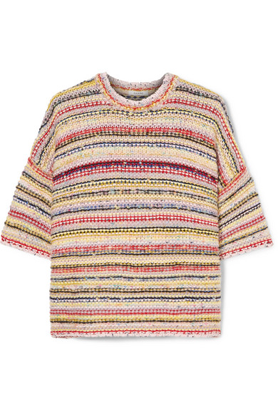 Brookhaven Striped Knitted Sweater in Ivory