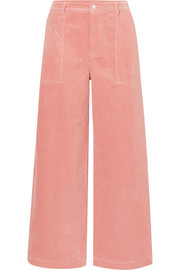 Cotton-blend corduroy wide-leg pants