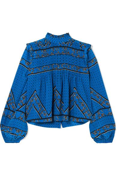 Cloverdale Pintucked Printed Silk Crepe De Chine Blouse in Cobalt Blue