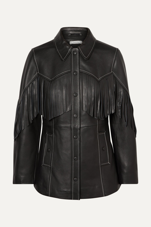 GANNI Fringed textured-leather jacket