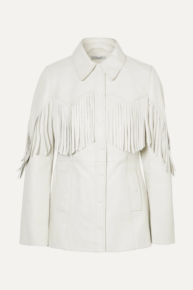 Angela Fringed Textured-Leather Jacket in White