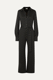 Lana embroidered polka-dot knitted jumpsuit