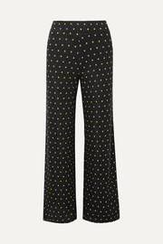 Magic Mervidelux metallic embroidered polka-dot knitted wide-leg pants