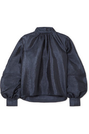 Eddy hammered-satin blouse