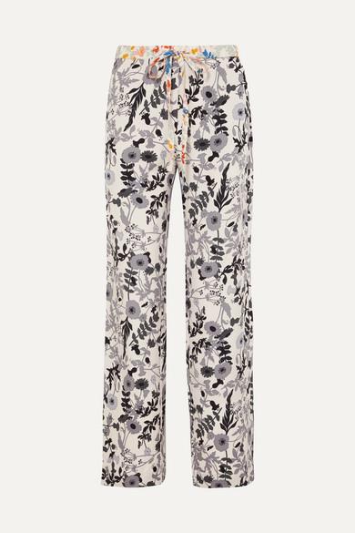 STINE GOYA   Stine Goya - Aileen Floral-print Stretch Crepe De Chine Pants - Ivory   Goxip