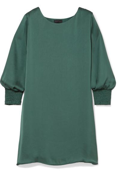 HATCH Ella Smocked Satin Mini Dress in Forest Green