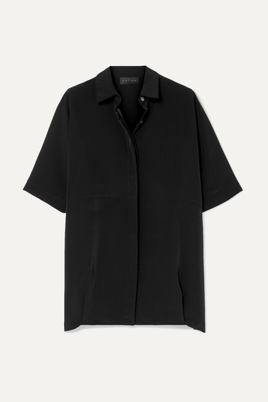 HATCH The Button Down Crepe De Chine Shirt in Black