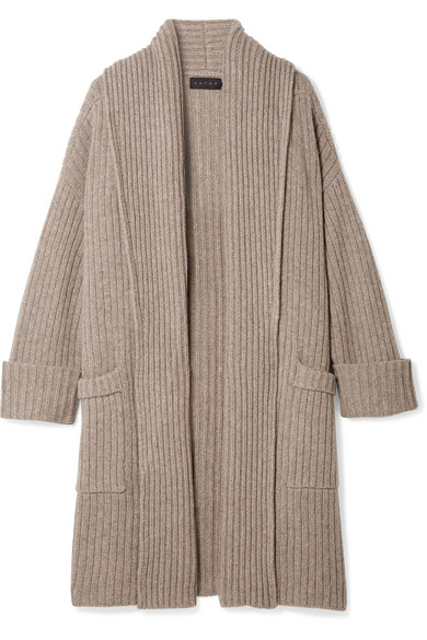 HATCH | HATCH - The Chunky Ribbed Wool-blend Cardigan - Mushroom | Goxip