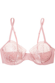 Topaz metallic stretch-Leavers lace and jersey underwired bra
