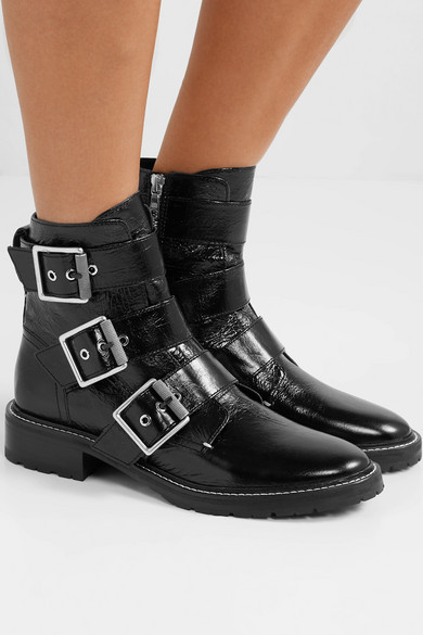 cf4f1dc017c rag & bone | Cannon buckled glossed-leather ankle boots | NET-A ...