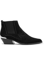 Westin metal-trimmed studded suede ankle boots