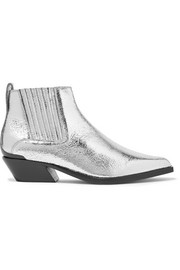rag & bone Westin metal-trimmed metallic textured-leather ankle boots