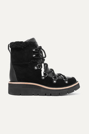 Skyler shearling-lined suede and leather ankle boots