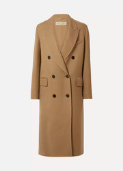 Double-breasted wool and silk-blend twill coat
